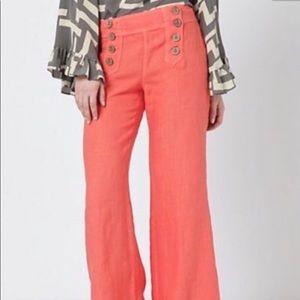 Coral linen wide leg sailor pants